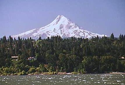 View of Mt.Hood looming above town of Hood River